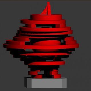 五月的风雕塑3d模型