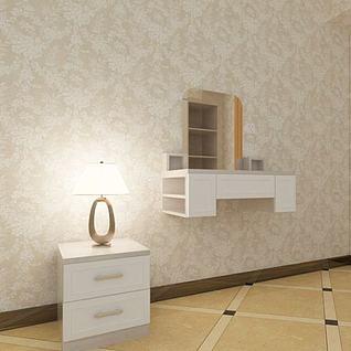 实木梳妆台床头柜3d模型