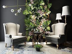 现代沙发茶几植物墙组合模型3d模型