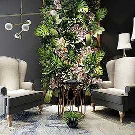 现代沙发茶几植物墙组合模型