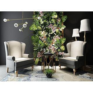 现代沙发茶几植物背景墙组合3d模型