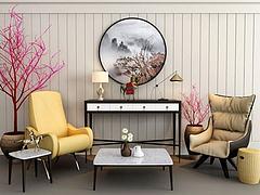 简约休闲椅茶几组合3D模型3d模型