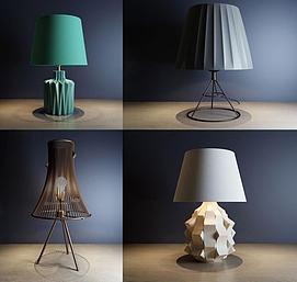 现代艺术台灯组合模型