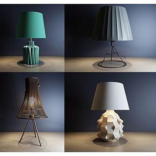 现代艺术台灯组合3d模型