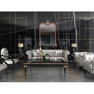 新古典银色沙发茶几组合3d模型