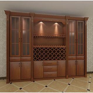 家庭实木酒柜3d模型3d模型