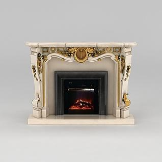 欧式奢华壁炉3d模型