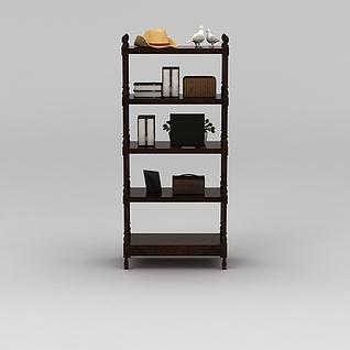 实木花架储物架3d模型3d模型