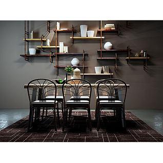工业风桌椅墙壁书架组合3d模型