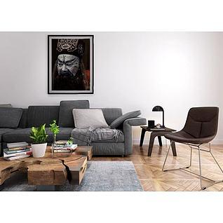 北欧沙发木头茶几组合3d模型