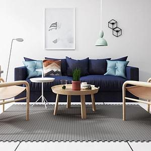 3d北欧沙发椅子茶几组合模型