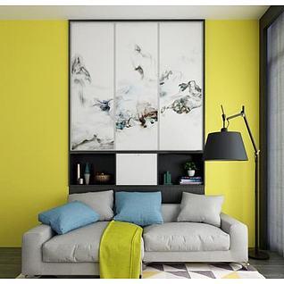 北欧沙发墙饰品落地灯组合3d模型
