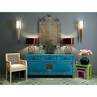 创意镂空椅子复古柜子组合3d模型