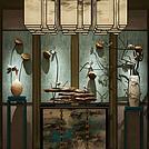 中式古风柜子吊灯墙饰品组合模型
