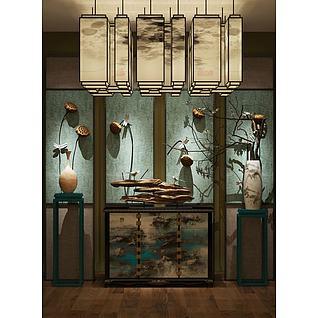 中式古风柜子吊灯墙饰品组合3d模型