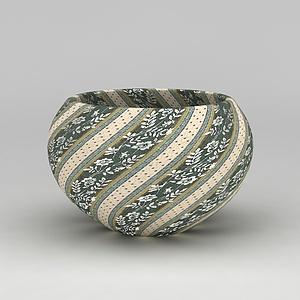 3d創意花紋瓷罐模型