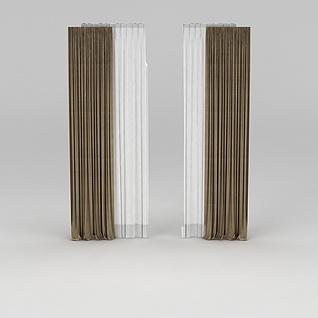 客厅布艺窗帘3d模型