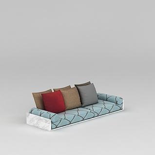 中式沙发榻抱枕组合3d模型3d模型