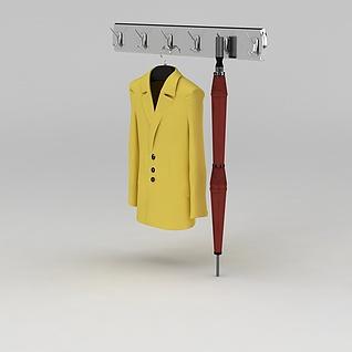 黄色毛呢大衣和墙壁衣架3d模型3d模型