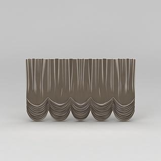 咖色绒面窗帘3d模型
