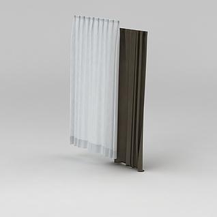 简易布艺窗帘3d模型
