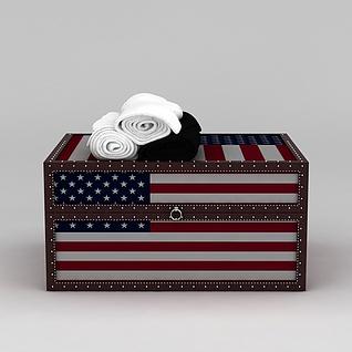 美式箱子和毛巾3d模型