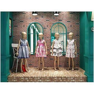 儿童服装精品厨窗模特3d模型