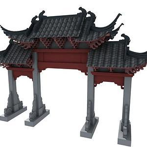 3d古建牌楼模型