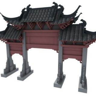 古建牌坊3d模型