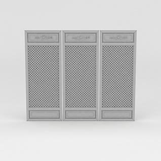 精致中式雕花屏风3d模型
