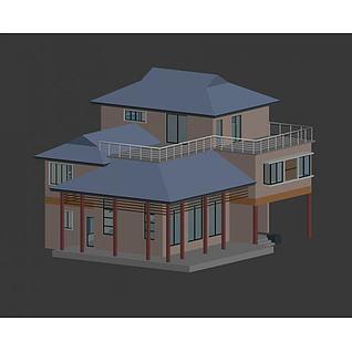 独栋小别墅3d模型3d模型