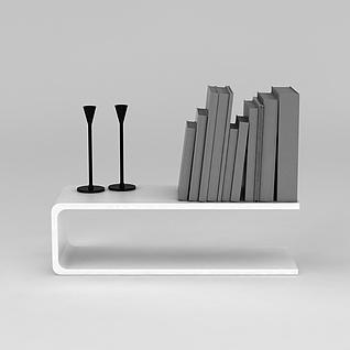 C型墙壁书架3d模型3d模型