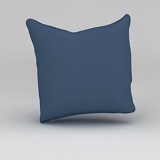 蓝色布艺抱枕3d模型