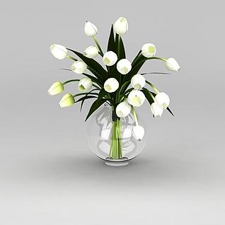 郁金香鲜花瓶3d模型