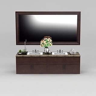 中式双盆洗手台3d模型
