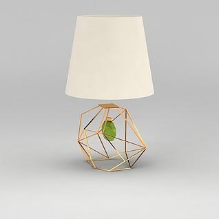 金属几何形台灯3d模型