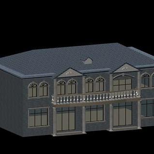 极简欧式别墅3d模型