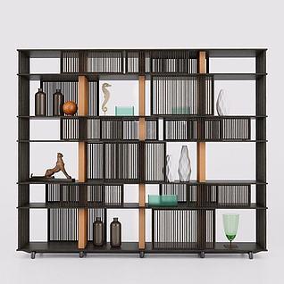 现代书架装饰品3d模型
