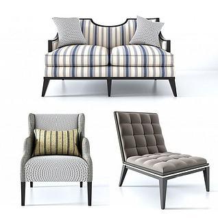 现代美式休闲沙发3d模型3d模型