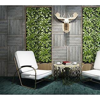 休闲椅茶几植物墙组合3d模型