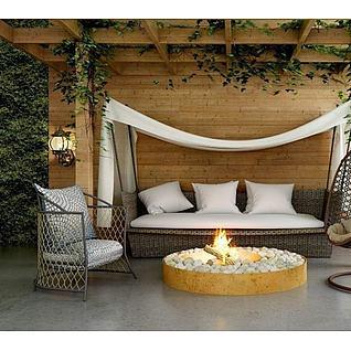花房藤编沙发椅子组合3d模型3d模型