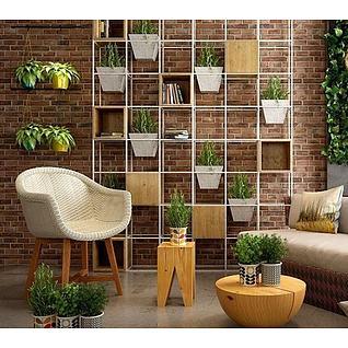 休闲植物装饰3d模型3d模型