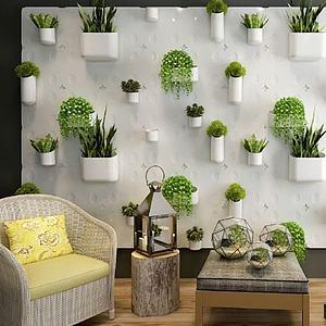 植物装饰墙模型