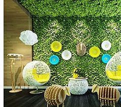 植物装饰墙休闲椅组合模型3d模型