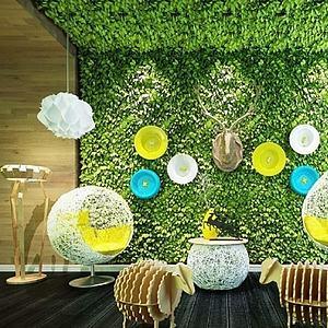 植物装饰墙休闲椅组合模型
