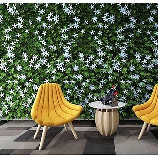 植物装饰墙香蕉椅组合3d模型