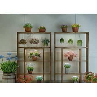 花架植物花盆3d模型