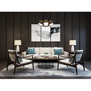后现代沙发休闲椅挂画组合3d模型