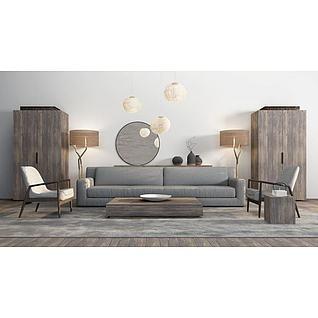 中式简约沙发茶几组合3d模型