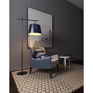 单人沙发落地灯茶几组合3d模型